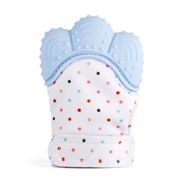 Newborn Baby Teething Toys Infant Teething Mitten Gloves Silicone Mitts with Voice (Blue) - Bargain Concept