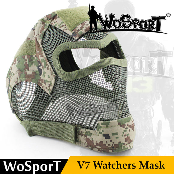 WoSporT Tactical V7 Watchers Full Face Mask Metal Mesh Safety Gas Mask - Bargain Concept