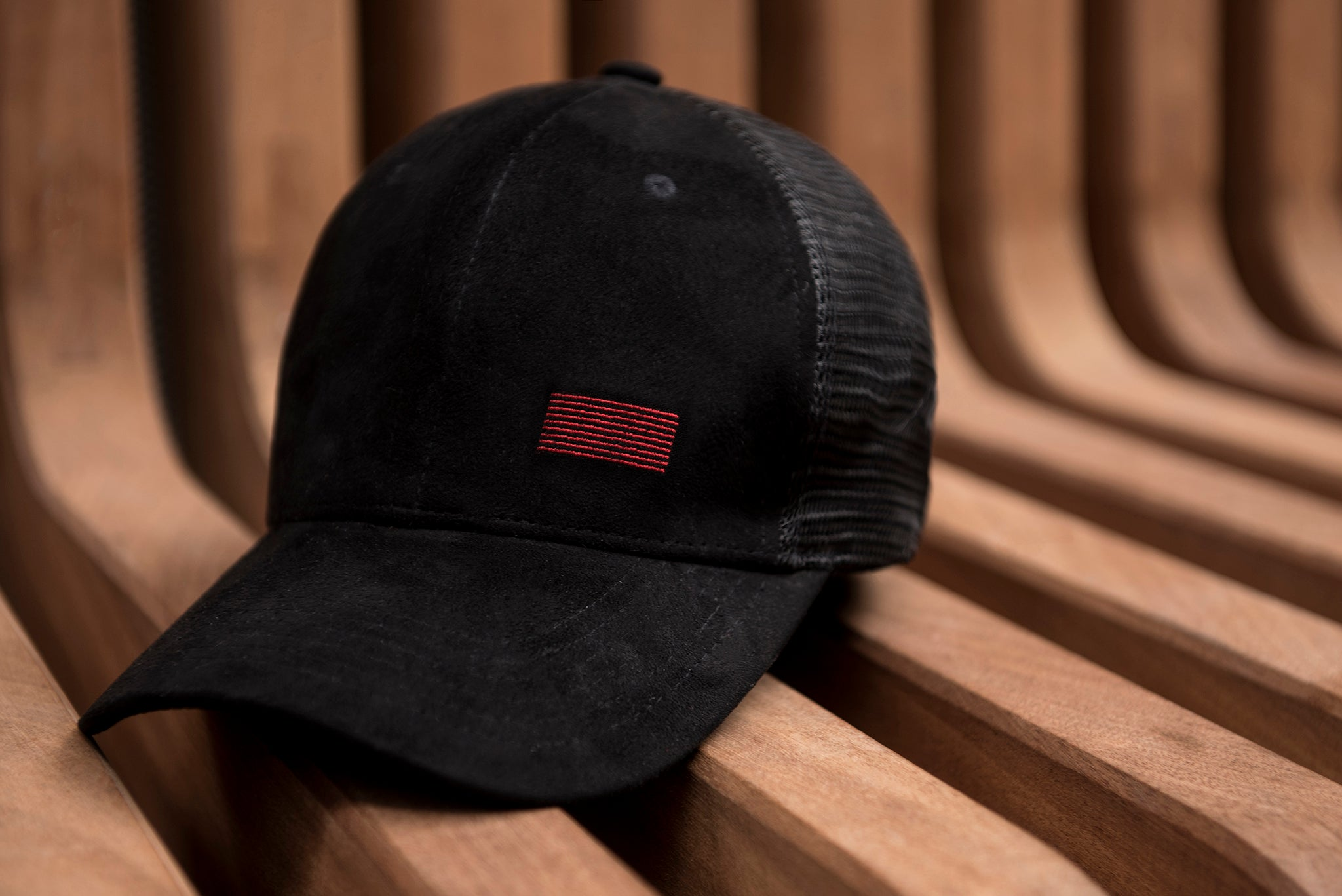 297bd53d94c CAP-TRUCKER SUEDE MESH BLACK CAP WITH RED LOGO - TRAIN WITH ME