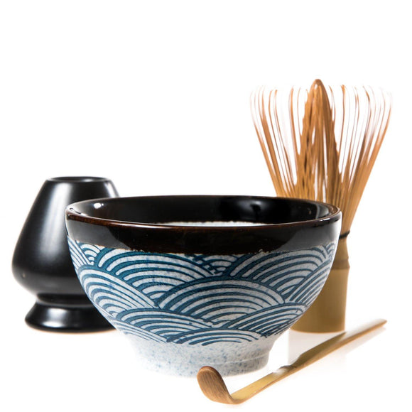 Japanese Wave Pattern Matcha Set