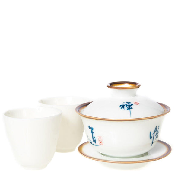 Porcelain Gaiwan with Handwritten Calligraphy Gong Fu set