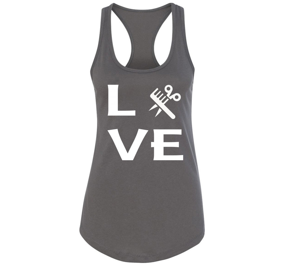 Love Hairstylist Cute Barber Gift Tee Ladies Racerback Tank Top