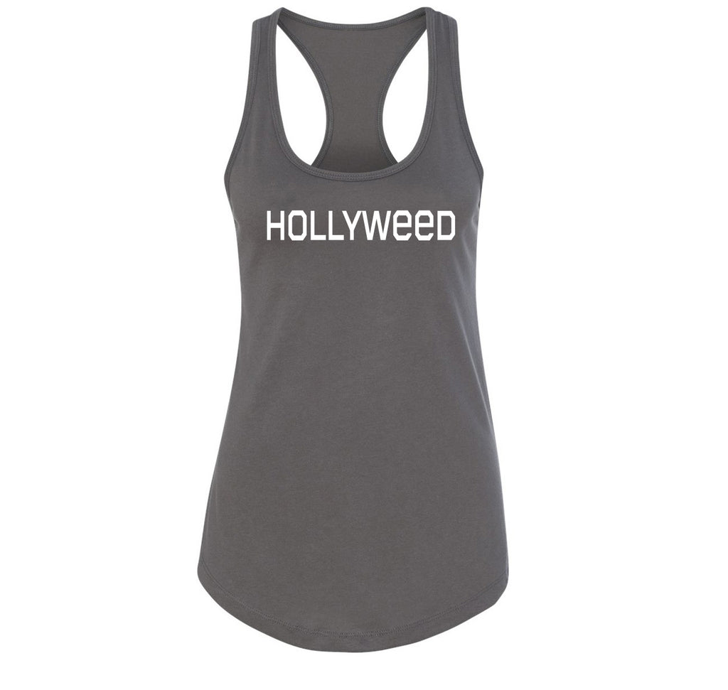 Hollyweed Funny Tee CA LA Hollywood Sign News Weed Stoner Cali Gift Tee Ladies Racerback Tank Top