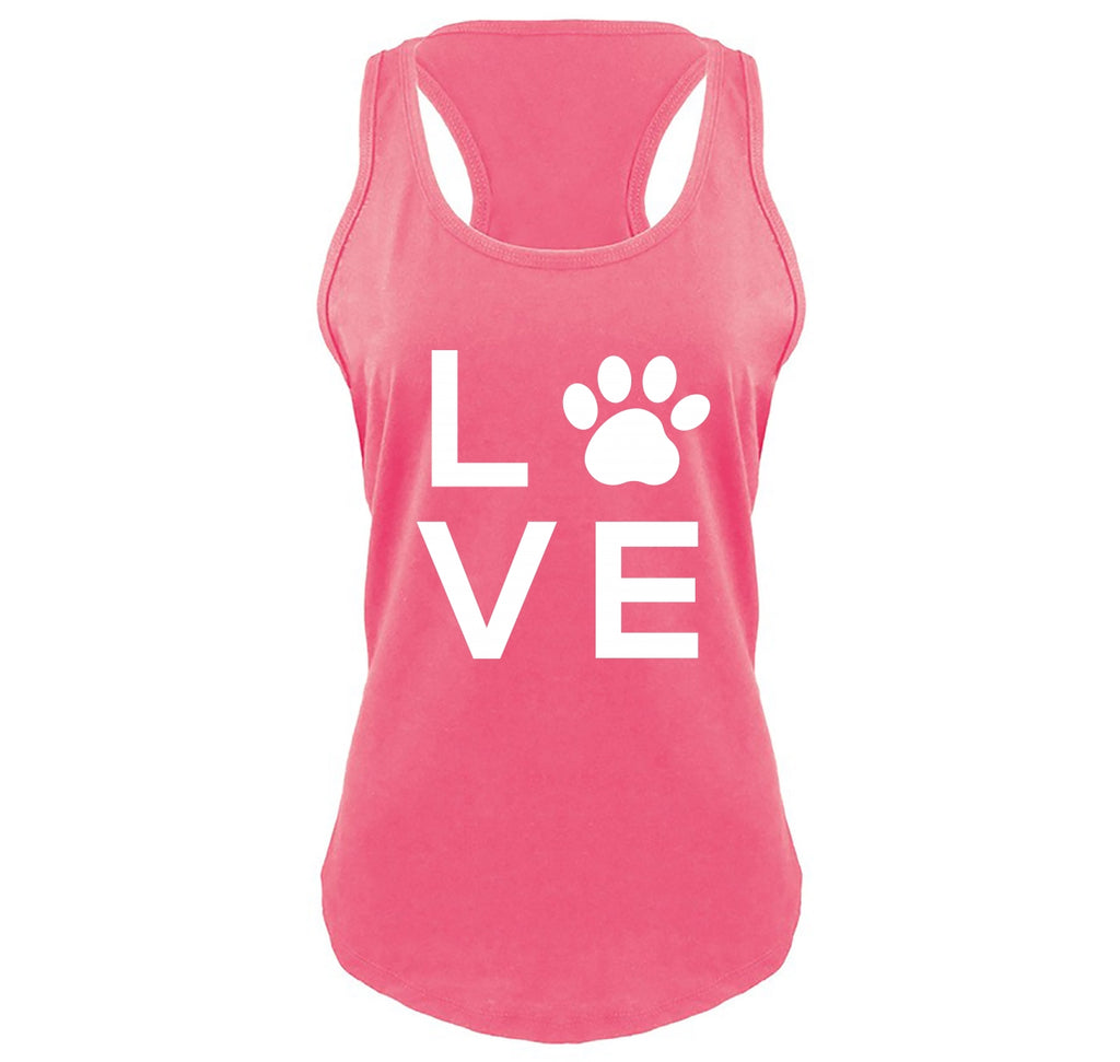 Love Dog Big Graphic Ladies Gathered Racerback Tank Top