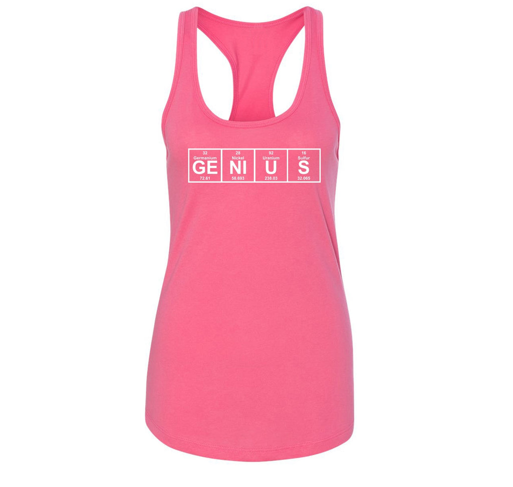 Genius Periodic Table, Funny Science Geek Shirt Ladies Racerback Tank Top