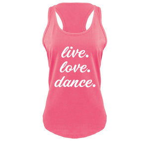 Live Love Dance Ladies Gathered Racerback Tank Top