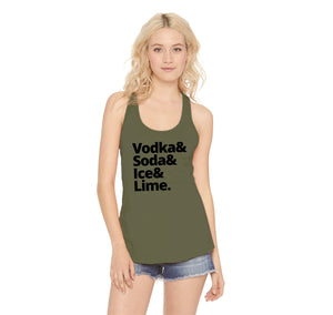 Vodka Soda Ice And Lime Ladies Racerback Tank Top