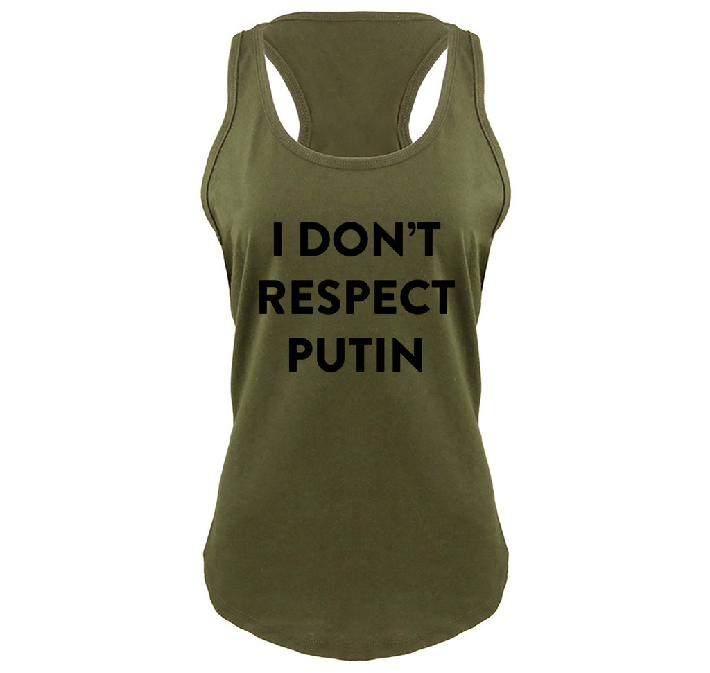 I Don't Respect Putin Tee Political Anti Trump Protest Tee Ladies Gathered Racerback Tank Top