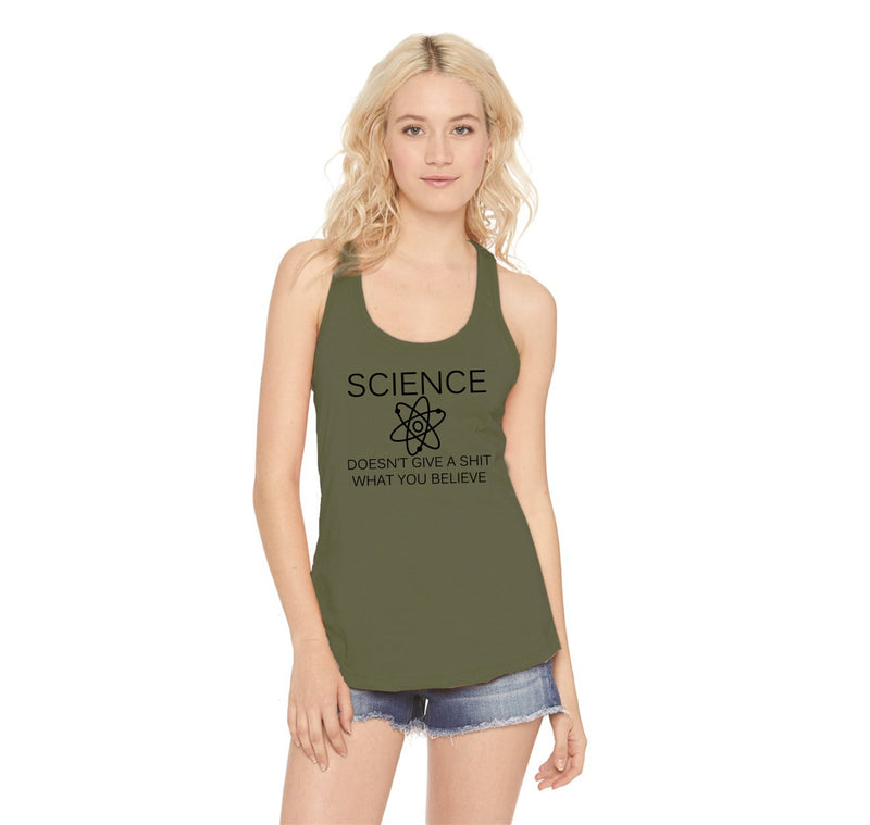 Science Doesn't Give A Shirt What You Believe Ladies Racerback Tank Top