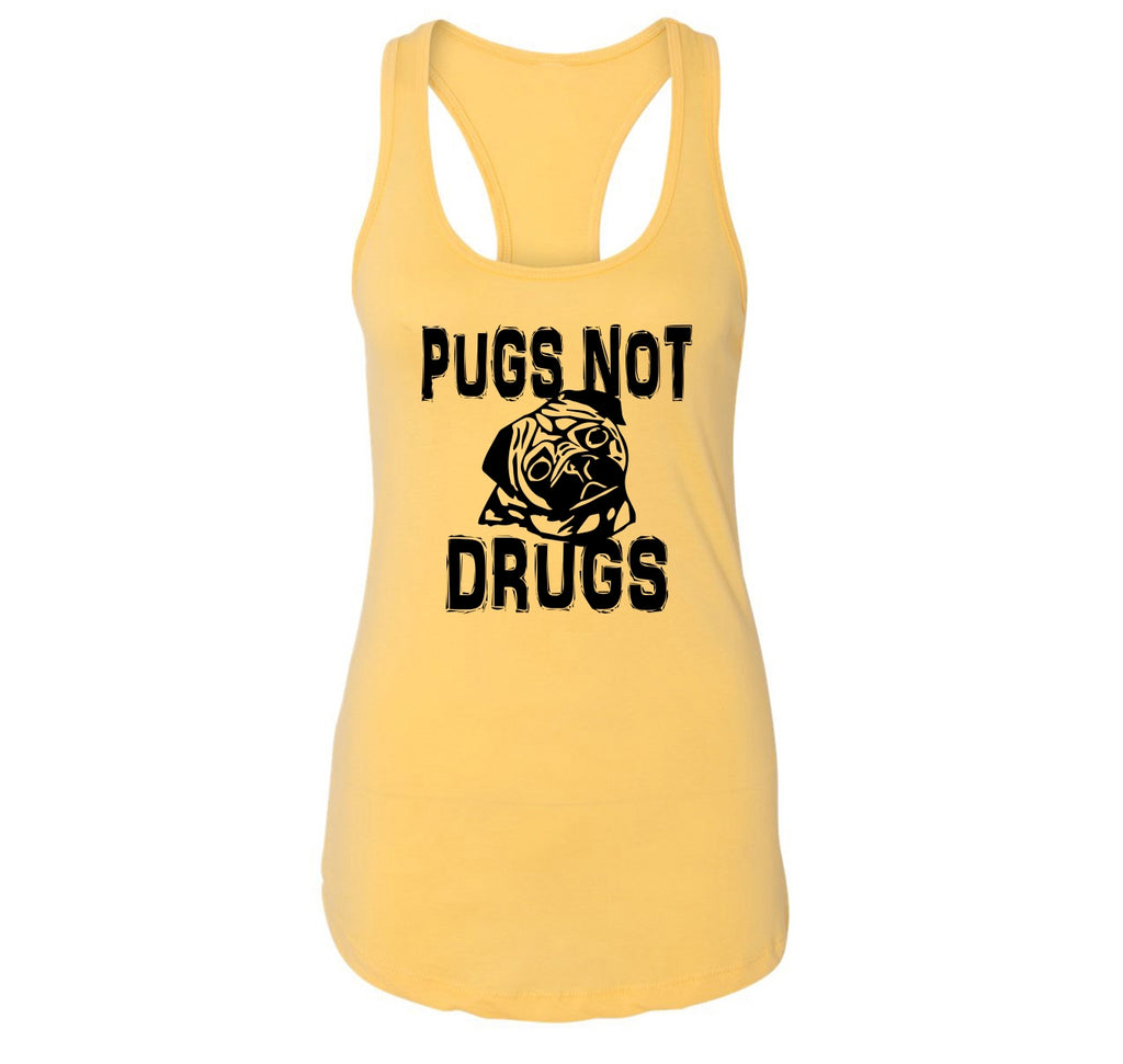 Pugs Not Drugs Funny Dog Lover Pug Lover Shirt Ladies Racerback Tank Top