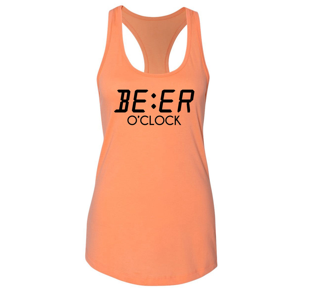 Beer O'Clock Funny Alcohol St Patty's Party Bar Tee Ladies Racerback Tank Top