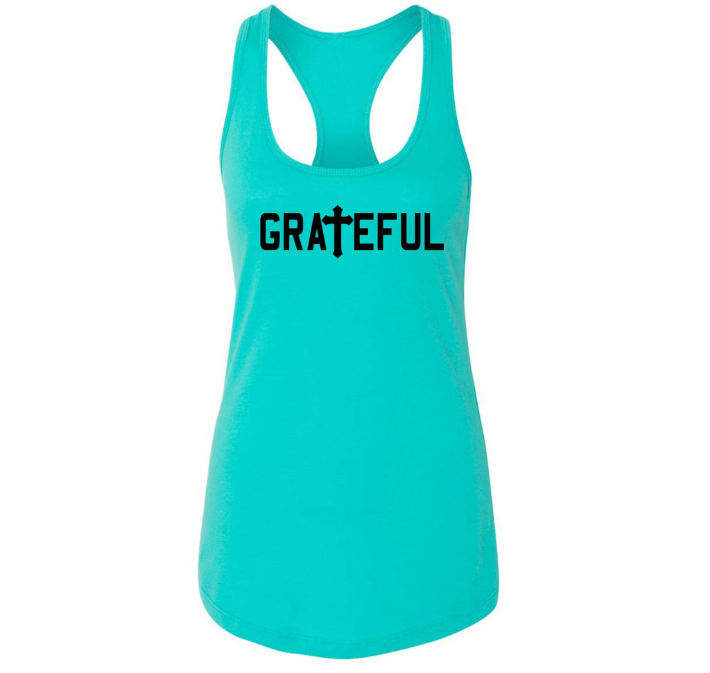 Grateful Christian Religious Tee Cross Jesus Religion Tee Ladies Racerback Tank Top