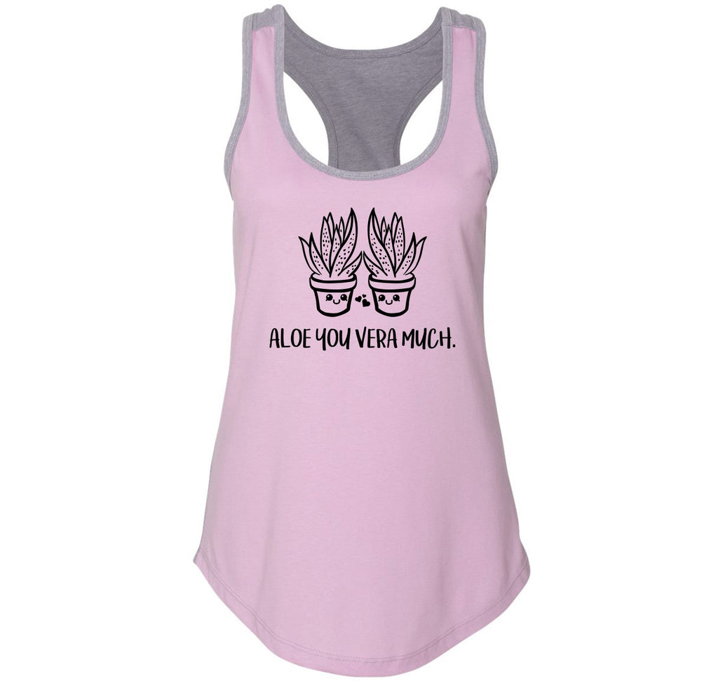 Aloe You Vera Much Graphic Tee Ladies Colorblock Racerback Tank Top
