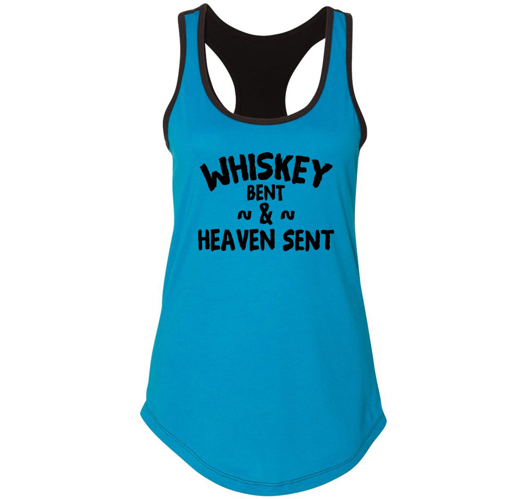 Whiskey Bent and Heaven Sent Ladies Colorblock Racerback Tank Top