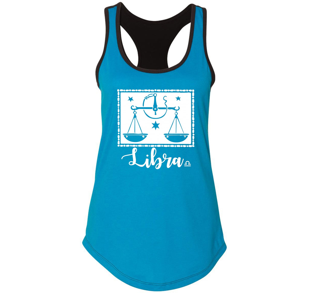 Libra Horoscope Ladies Colorblock Racerback Tank Top