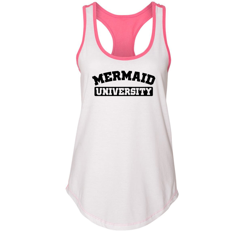 Mermaid University Funny Tee Cute School College Party Gift Tee Ladies Colorblock Racerback Tank Top