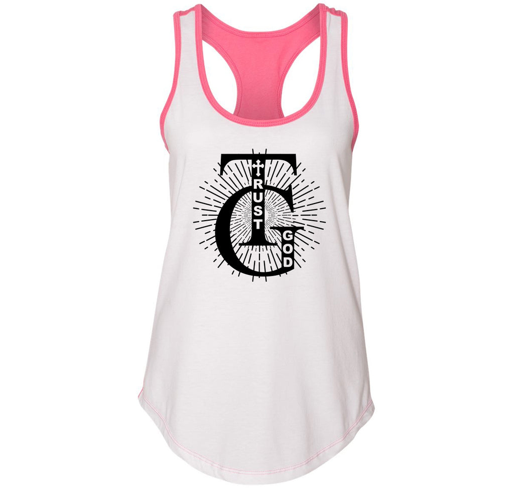 Trust God Ladies Colorblock Racerback Tank Top