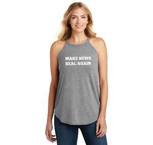 Make News Real Again Funny Trump Political Tee Ladies Tri-Blend Rocker Tank Top