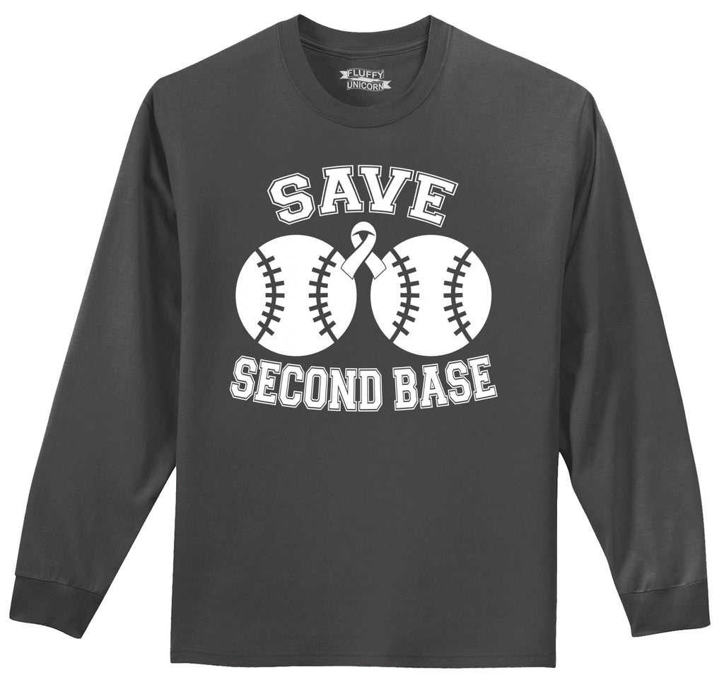 Save Second Base Cute Breast Cancer Awareness Shirt Mens Long Sleeve Tee Shirt