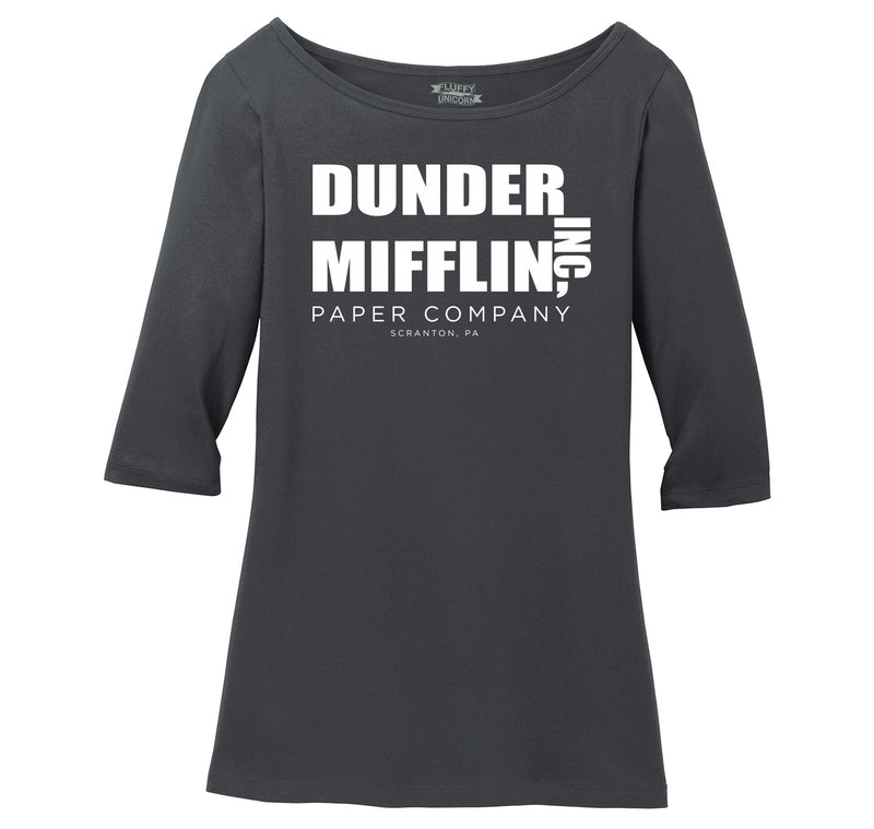 Dunder Mifflin Paper Company Ladies Wide Neck 3/4 Sleeve Tee