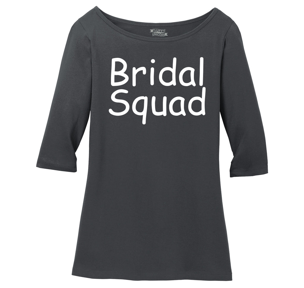 Bridal Squad Ladies Wide Neck 3/4 Sleeve Tee