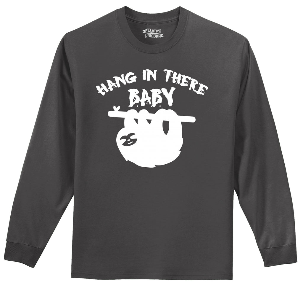 Hang In There Baby Sloth Graphic Tee Mens Long Sleeve Tee Shirt