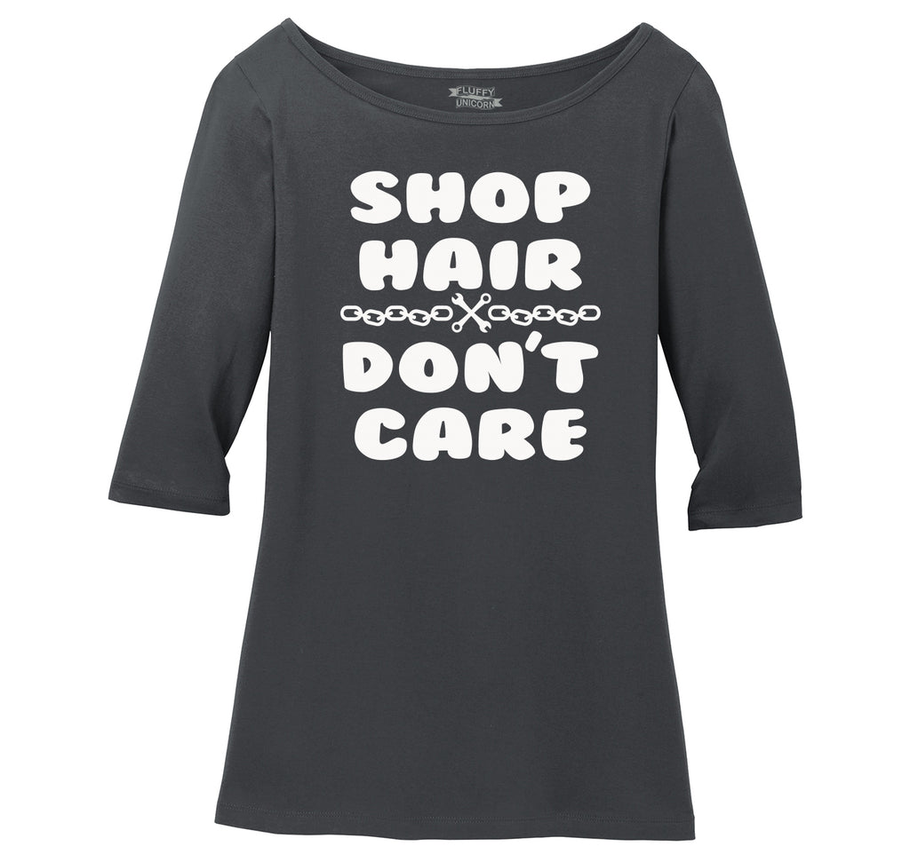 Shop Hair Don't Care Ladies Wide Neck 3/4 Sleeve Tee