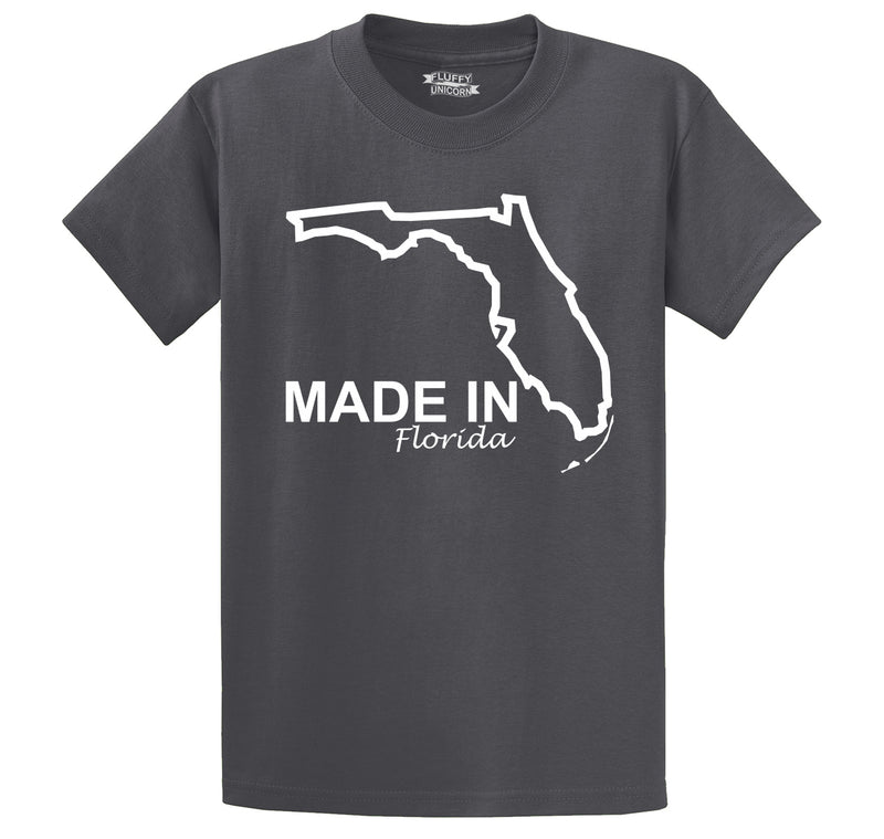 Made In Florida State Pride Shirt Men's Heavyweight Big & Tall Cotton Tee Shirt