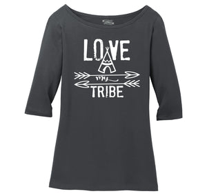 Love My Tribe Mother Father Gift Tee Ladies Wide Neck 3/4 Sleeve Tee