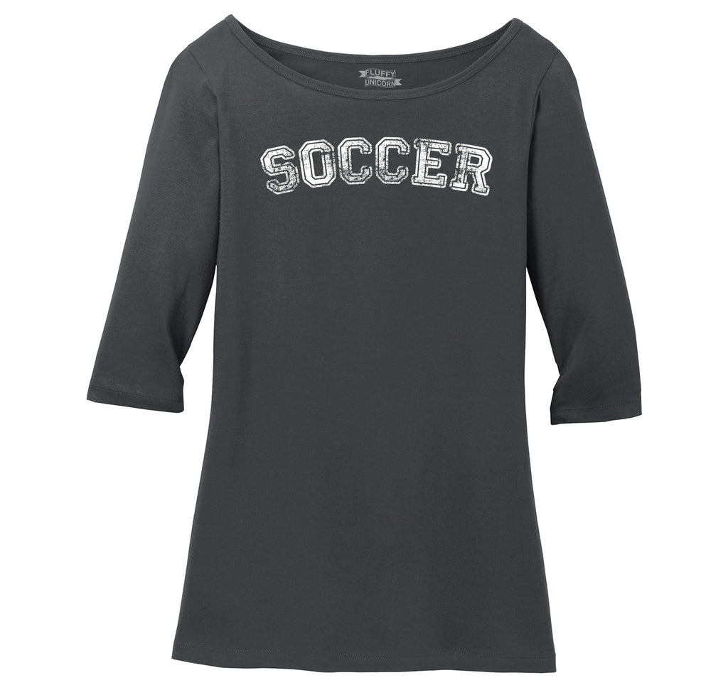 Soccer Sports Goalie Shirt Ladies Wide Neck 3/4 Sleeve Tee