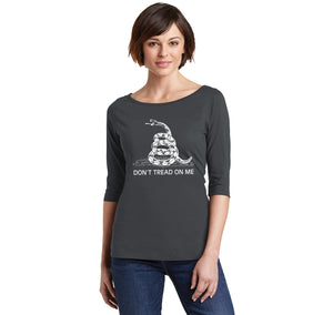 Gadsden Flag Don't Tread On Me Ladies Wide Neck 3/4 Sleeve Tee