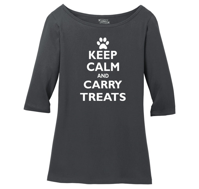 Keep Calm and Carry Treats Ladies Wide Neck 3/4 Sleeve Tee