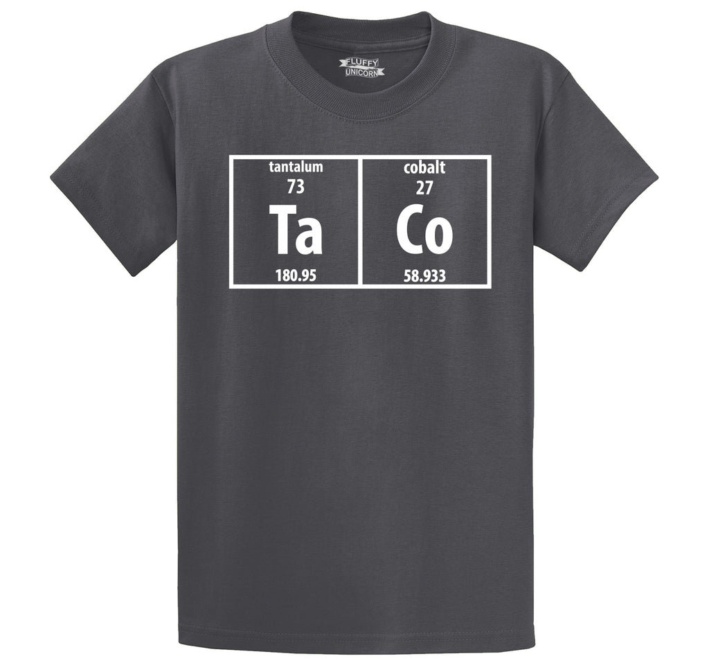 Taco Periodic Table Funny Science Shirt Geek Nerd College Men's Heavyweight Big & Tall Cotton Tee Shirt
