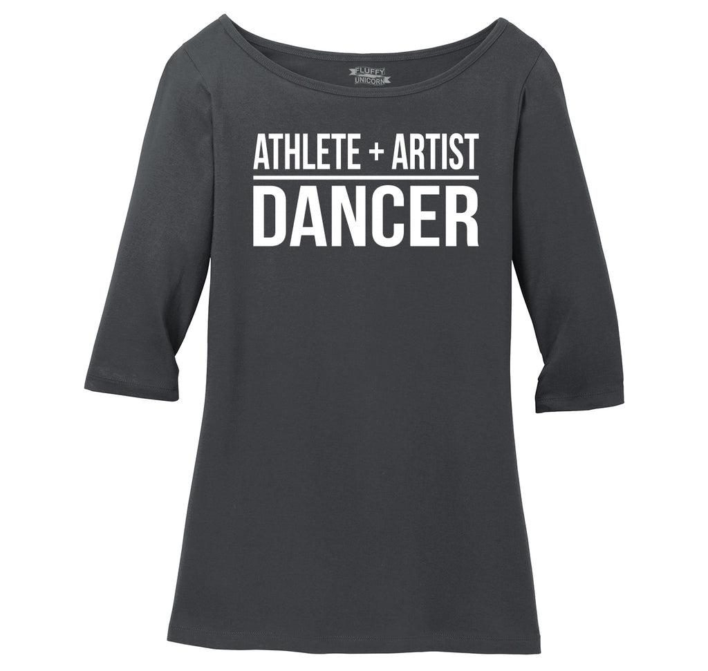 Athlete Artist Dancer Ladies Wide Neck 3/4 Sleeve Tee