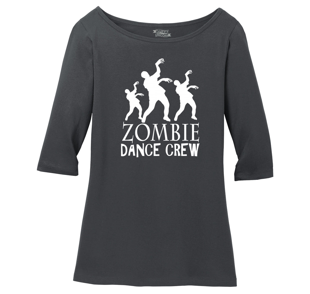 Zombie Dance Crew Ladies Wide Neck 3/4 Sleeve Tee