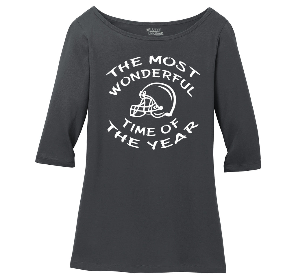 The Most Wonderful Time Of The Year Football Ladies Wide Neck 3/4 Sleeve Tee