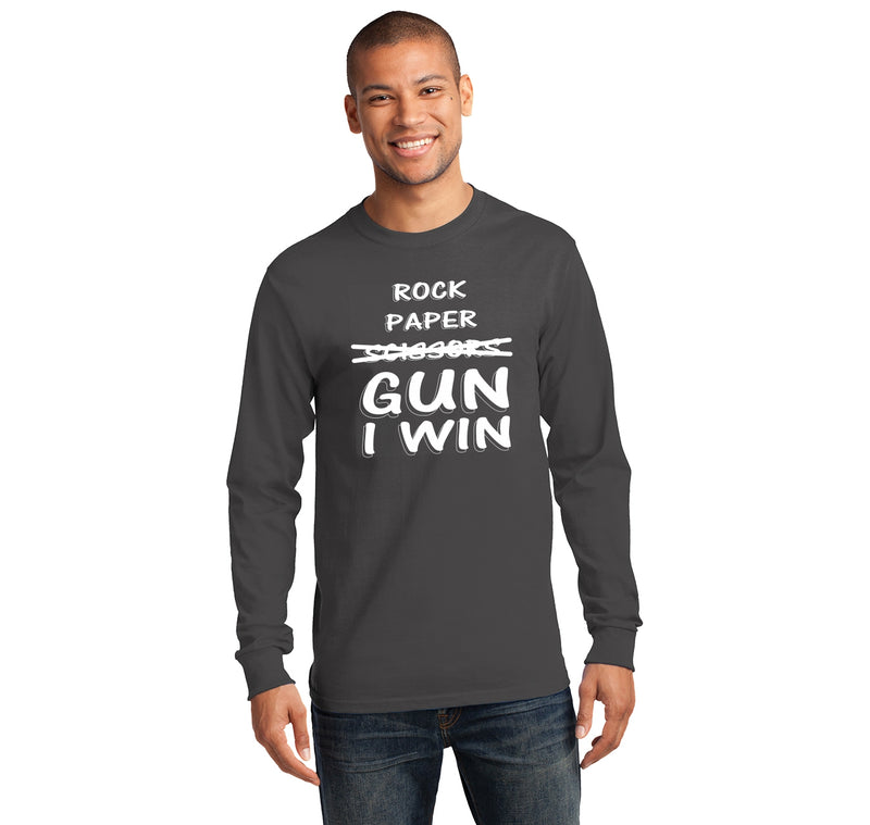 Rock Paper Scissors GUN I win  Mens Long Sleeve Tee Shirt