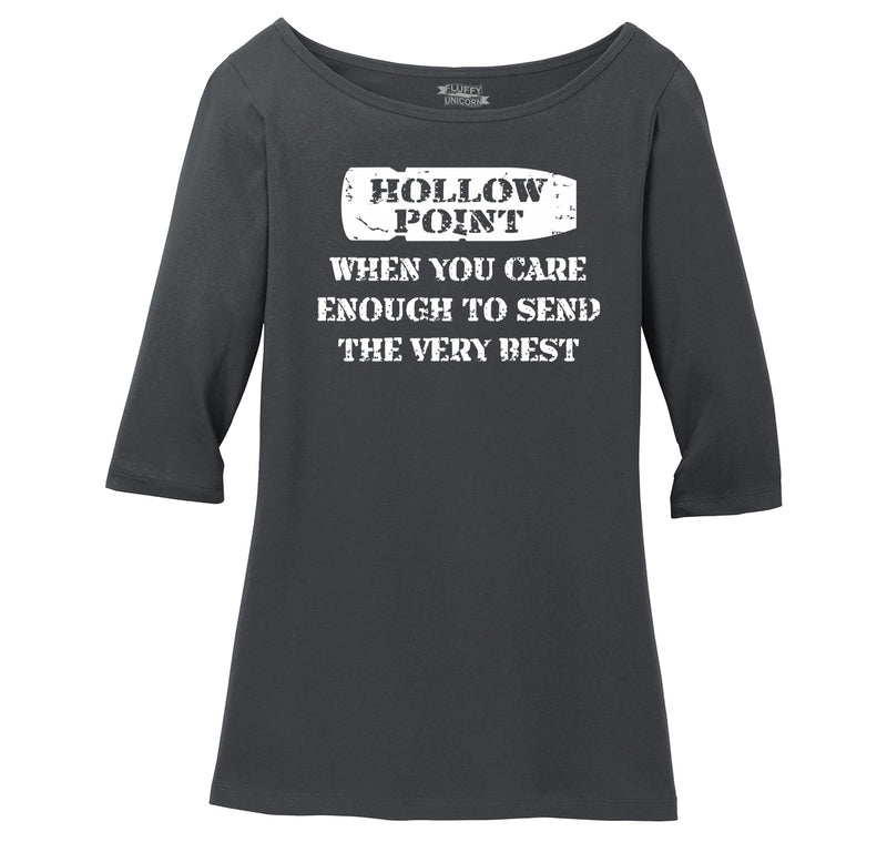 Hollow Point Ladies Wide Neck 3/4 Sleeve Tee