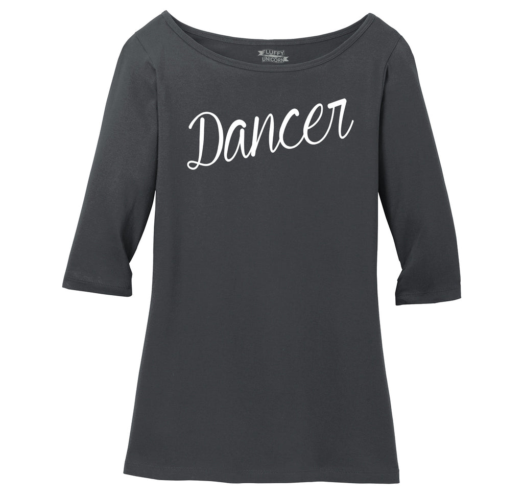 Dancer Ladies Wide Neck 3/4 Sleeve Tee