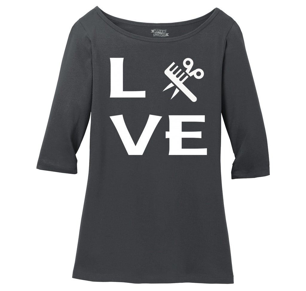 Love Hairstylist Cute Barber Gift Tee Ladies Wide Neck 3/4 Sleeve Tee