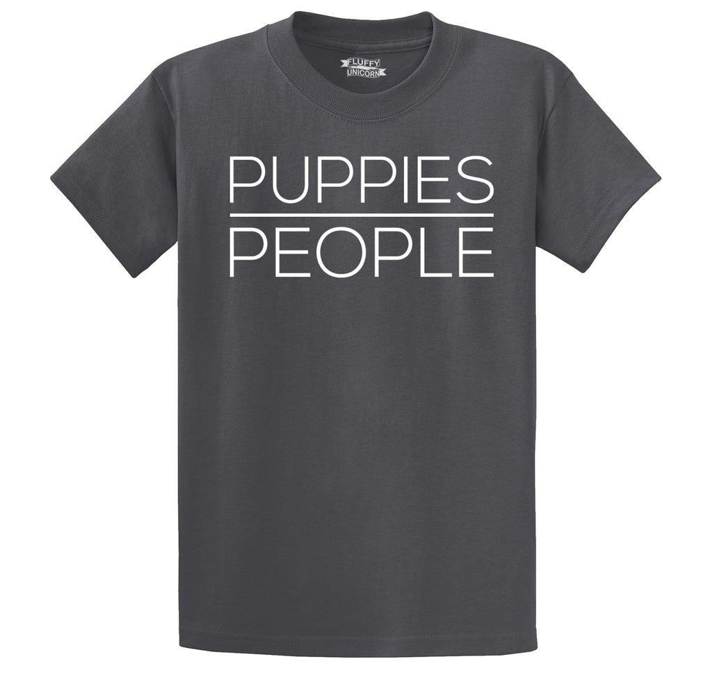 Puppies Over People Men's Heavyweight Big & Tall Cotton Tee Shirt