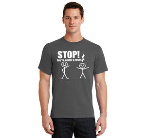 Stop You're Under A Rest Funny Music Piano Shirt Men's Heavyweight Cotton Tee Shirt