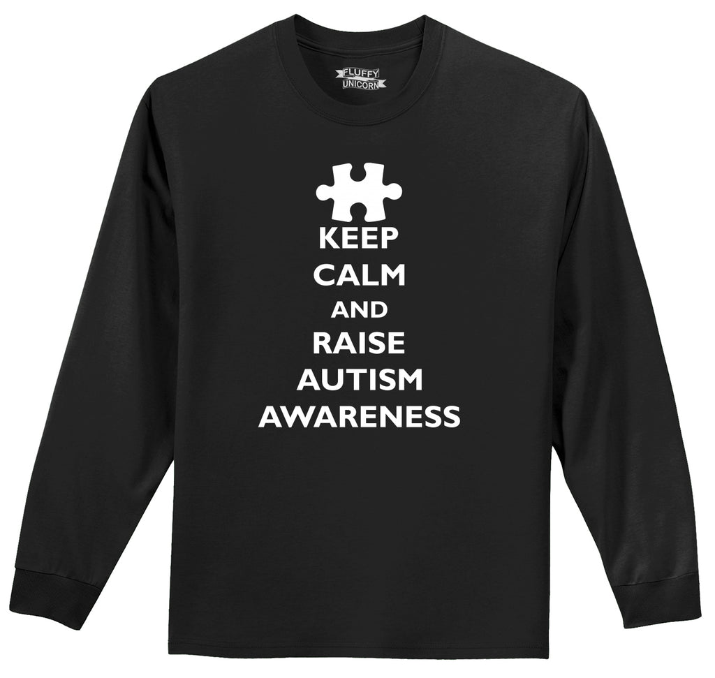 Keep Calm and Raise Autism Awareness Tee Mens Long Sleeve Tee Shirt