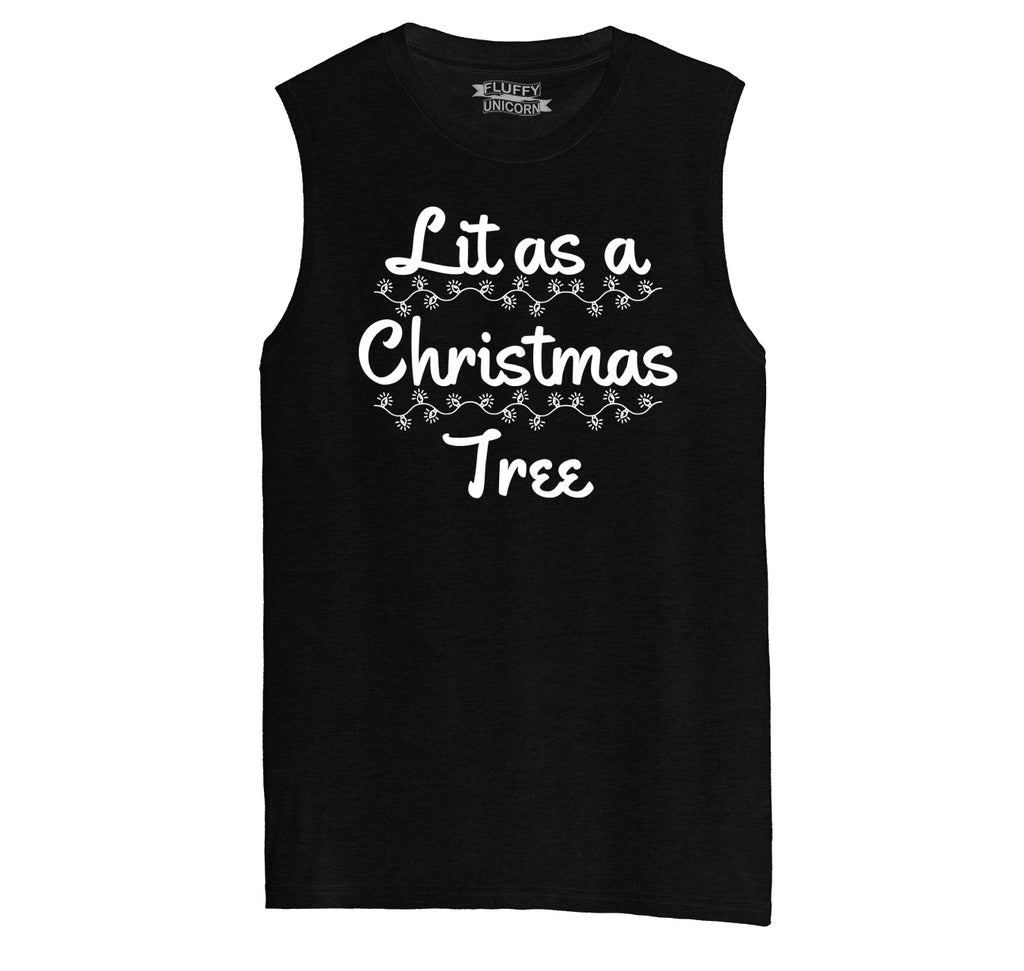 Lit As A Christmas Tree Mens Muscle Tank Muscle Tee