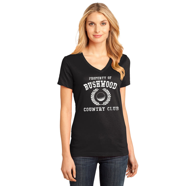 Property Of Bushwood Country Club Ladies Ringspun V-Neck Tee