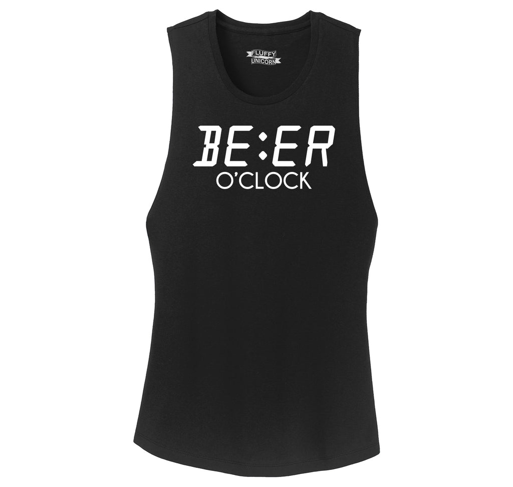 Beer O'Clock Funny Alcohol St Patty's Party Bar Tee Ladies Festival Tank Top