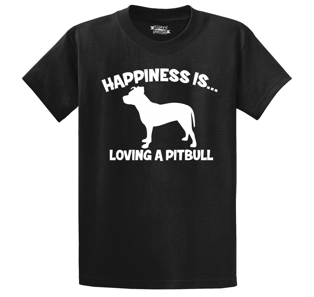 Happiness Is Loving A Pitbull Men's Heavyweight Big & Tall Cotton Tee Shirt