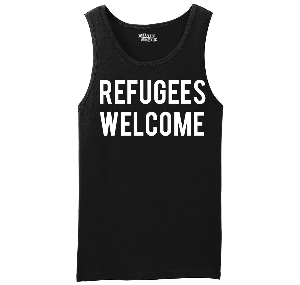 Refugees Welcome Tee Anti Trump Protest Muslim Peace USA Tee Mens Sleeveless Tank Top