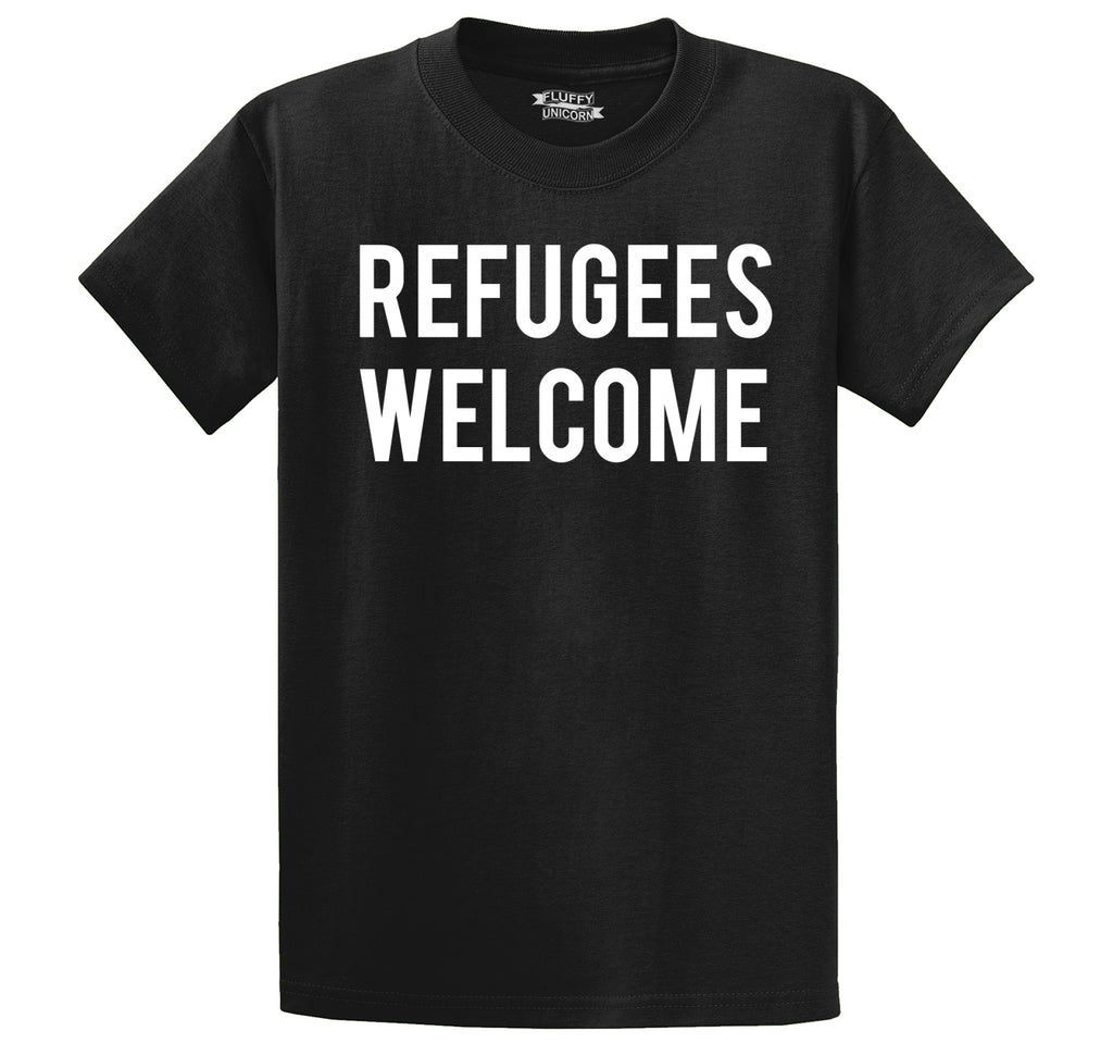 Refugees Welcome Tee Anti Trump Protest Muslim Peace USA Tee Men's Heavyweight Big & Tall Cotton Tee Shirt