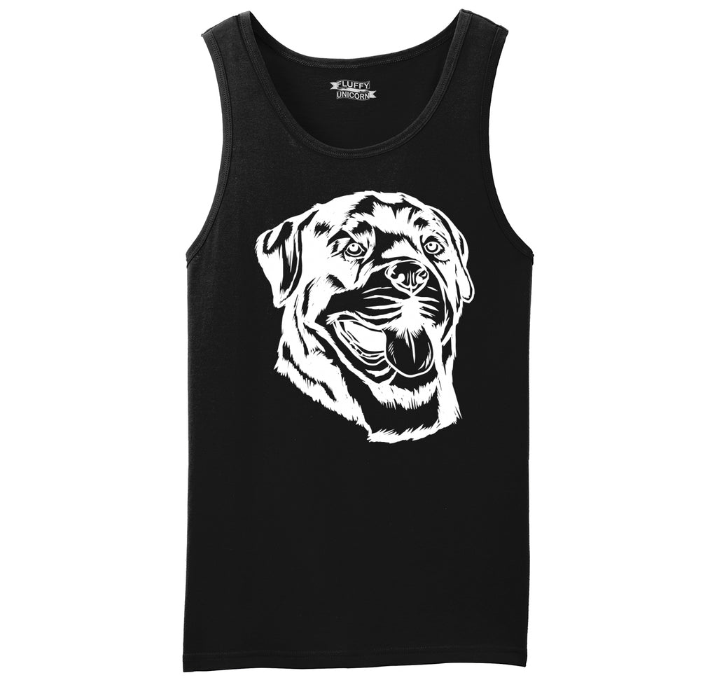 Rottweiler Dog Face Graphic Mens Sleeveless Tank Top